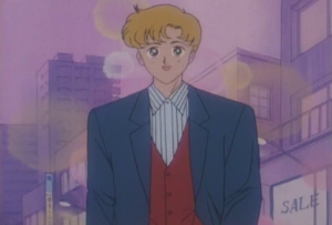 Motoki attempts to out-hipster Tuxedo Kamen by wearing a waistcoat. You work in a FUCKING ARCADE, MATE
