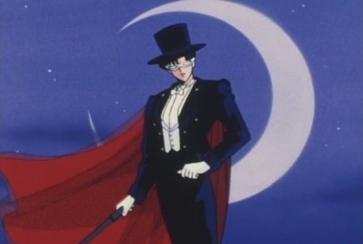 Tuxedo Kamen against the moon