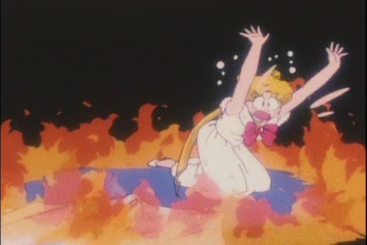 Usagi surrounded by flames
