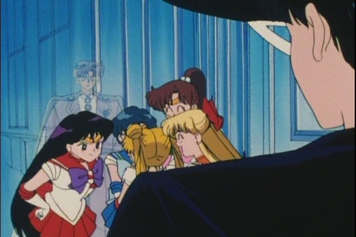 Another eye-rolling scene of Tuxedo Kamen trying to act cool. Mirrored, this time, too