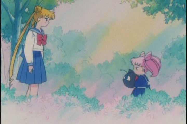 Usagi and Chibi-Usa just stare at each other