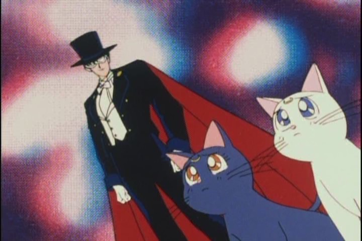 """Oh great, I stuck with the pussy."" ""My name is Tuxedo Kamen."""