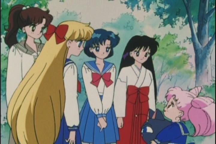 The Sailor Senshi say farewell to Chibi-Usa