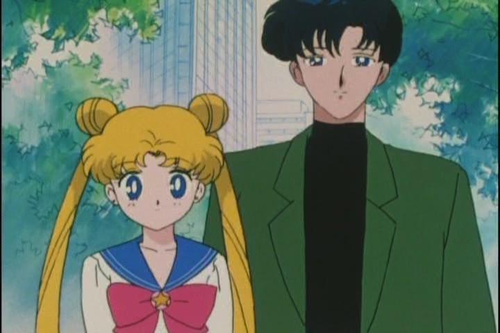 Usagi and Mamoru stare at Chibi-Usa