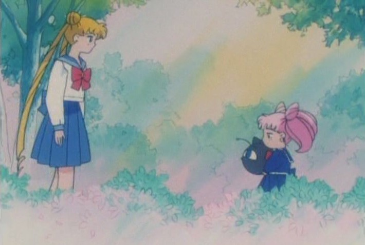 Usagi and Chibi-Usa stare at each other