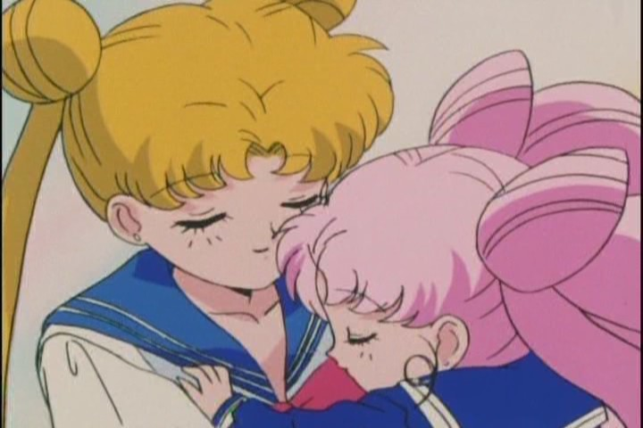 Usagi and Chibi-Usa hug