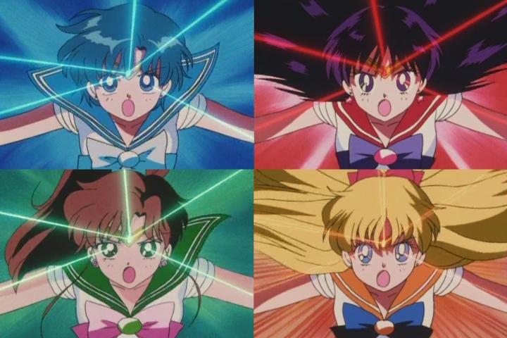 The Sailor Senshi combine powers
