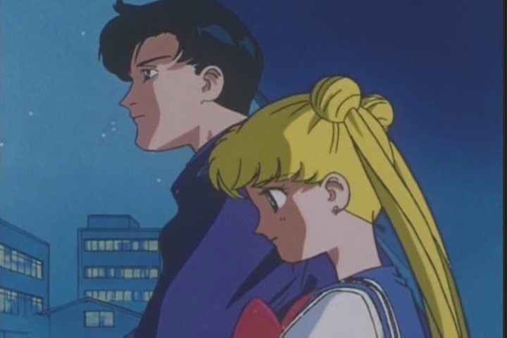 Usagi and Mamoru on a balconey
