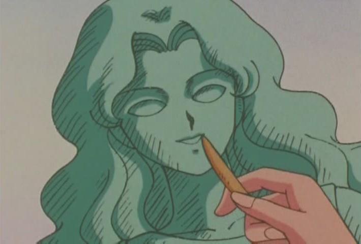 Masanori making sculpture of Michiru
