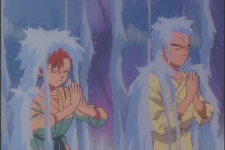 Makoto under a waterfall