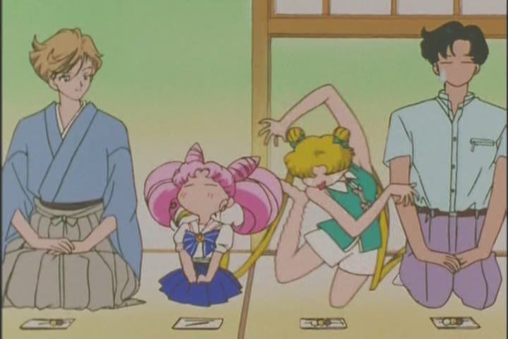 Usagi's feet hurt from Chibi-Usa