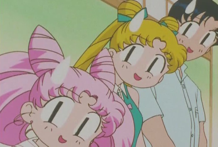 Usagi, Chibi-Usa and Mamoru surprised