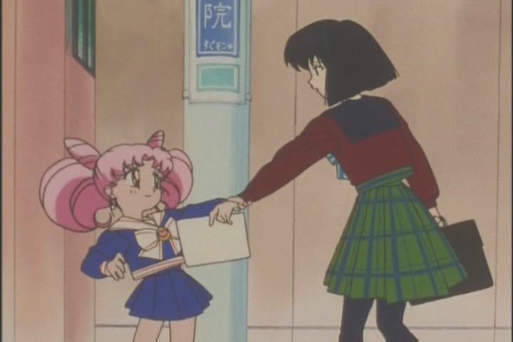 I like how Chibi-Usa literally drag hers her until she agrees to come willingly. Such a little Princess