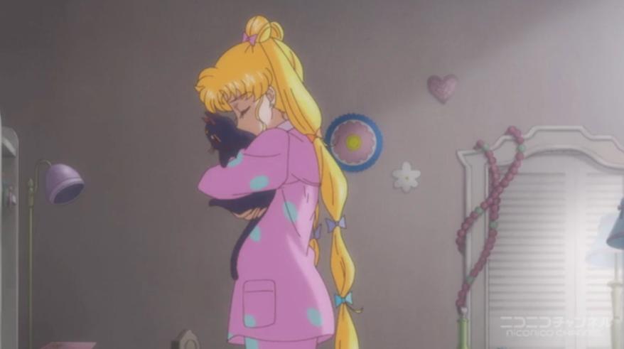 Sailor Moon Crystal - Usagi hugging Luna