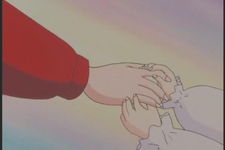Baby Hotaru holds Chibi-Usa's hand