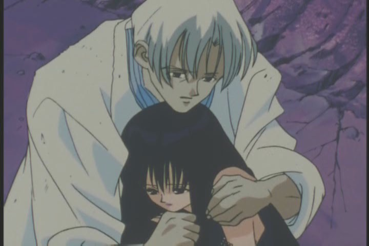 Tomoe holding Mistress Nine