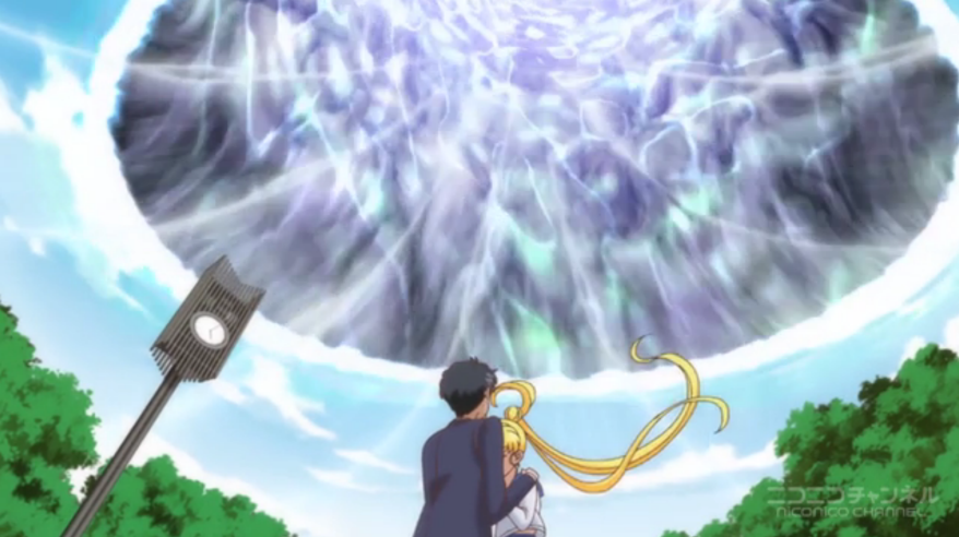 Sailor Moon Crystal - Vortex opens up above Usagi and Mamoru