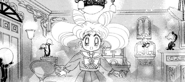 Chibi-Usa in Hotaru's room