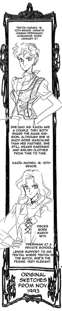 Beginning to realise that Haruka and Michiru were written by a straight woman in the 90s... this is so stereotypical