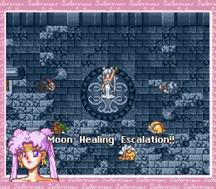 Sailor Moon Another Story - Queen Serenity uses Moon Healing Escalation