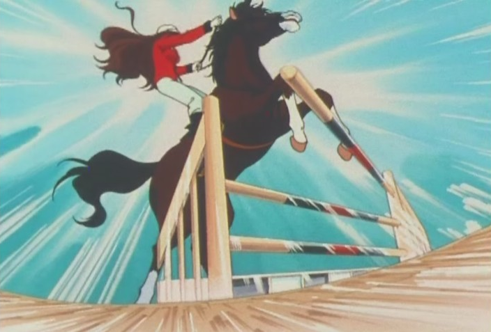 Reika jumps on a horse